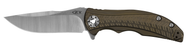 "Zero Tolerance 0609 Folding Knife, 3.4"" Plain Edge Blade, Bronze Titanium Handle"