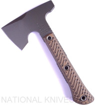 "RMJ Tactical Mini Jenny Hammer Pole Tomahawk, 2.687"" Forward Edge 80CRV2, Hyena Brown Handle, Sheath"