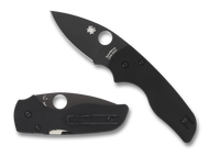 "Spyderco Lil' Native C230GPBBK Compression Lock Folding Knife, Black 2.437"" Plain Edge Blade, Black G-10 Handle"