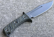 "RMJ Tactical Jungle Combat Fixed Blade Knife, 7.125"" Plain Edge Nitro-V Blade, Dirty Olive G-10, Kydex Sheath"