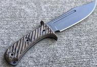 "RMJ Tactical Jungle Combat Fixed Blade Knife, 7.125"" Plain Edge Nitro-V Blade, Hyena Brown G-10, Kydex Sheath"