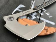 """RMJ Tactical Death Dealer Battle Axe, 6.437"""" Forward Edge 80CRV2, Black G-10 Handle, Leather Sheath"""