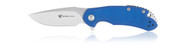 "Steel Will Knives Cutjack C22-2BL Folding Knife, 3.5"" Plain Edge M390 Blade, Blue G-10 Handle"