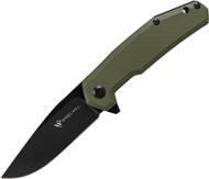 "Steel Will Knives Tenet F30-33 Folding Knife, 3.375"" Plain Edge Blade, Olive Drab G-10 Handle"