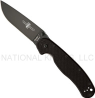 "Ontario RAT 1 8846 BP Folding Knife, Black 3.625"" Plain Edge Blade, Black Handle"