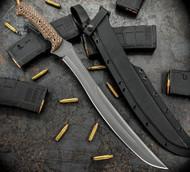 "RMJ Tactical Wyvern Fixed Blade Knife, 15.125"" Plain Edge CPM-3V Blade, Hyena Brown G-10, Kydex Sheath"