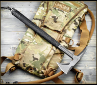 "RMJ Tactical Shrike Tomahawk, 2.75"" Forward Edge 80CRV2, Black Handle, Sheath"