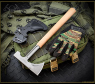 "RMJ Tactical Loggerhead Tomahawk, 2.75"" Forward Edge 80CRV2, Coyote Brown Handle, Sheath"