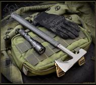 "RMJ Tactical Loggerhead Tomahawk, 2.75"" Forward Edge 80CRV2, Black Handle, Sheath"