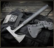 "RMJ Tactical L13 Loggerhead Tomahawk, 2.75"" Forward Edge 80CRV2, Black Handle, Sheath"
