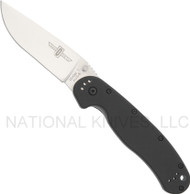 "Ontario RAT 1 8848 Folding Knife, Satin 3.625"" Plain Edge Blade, Black Handle"
