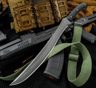 "RMJ Tactical Wyvern Fixed Blade Knife, 15.125"" Plain Edge CPM-3V Blade, Black G-10, Kydex Sheath"