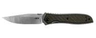 Zero Tolerance 0640 Folding Knife, 20CV Plain Edge Blade, Green Weave Carbon Fiber and Titanium Handle
