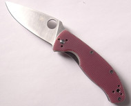 "USED - Spyderco Tenacious C122GPRC Folding Knife, Satin 3.375"" Plain Edge Blade, Red Check G-10 Handle"