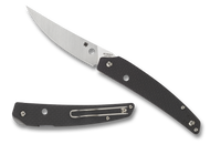 Spyderco Ikuchi C242CFP Folding Knife, Plain Edge Blade, Black Carbon Fiber and G-10 Laminate Handle
