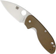 "Spyderco Efficient C216GPBN Folding Knife, 3"" Plain Edge Blade, Brown G-10 Handle"