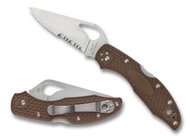 "Byrd Meadowlark 2 BY04PSBN2 Folding Knife, 2.875"" Partially Serrated Blade, Brown FRN Handle"