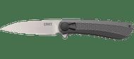 """CRKT Slacker K350KXP Flipper Folding Knife, Satin 3.28"""" Plain Edge Blade, Black Aluminum Handle"""