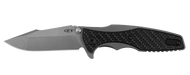 "Zero Tolerance 0393GLCF Folding Knife, Working Finish  3.625"" Plain Edge Blade, Glow In The Dark Weave Carbon Fiber Overlay and Working Finish Titanium Handle"