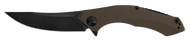 "Zero Tolerance 0462TAN Sprint Run Folding Knife, Blackwash 3.656"" Plain Edge Blade, Tan G-10 and Blackwash Titanium Handle"