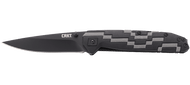 "CRKT Hyperspeed 7020 Assisted Opening Knife, Black 3.56"" Plain Edge Blade, Black and Gray Glass Reinforced Nylon Handle"