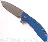 Rick Hinderer Knives XM-24 Spanto Flipper Knife, Working Finish CPM-20CV  Plain Edge Blade, Battle Blue Lockside, Blue G-10 Handle - Tri-Way Pivot