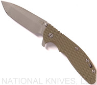 Rick Hinderer Knives XM-24 Spanto Flipper Knife, Working Finish CPM-20CV  Plain Edge Blade, Battle Bronze Lockside, Olive Drab G-10 Handle - Tri-Way Pivot