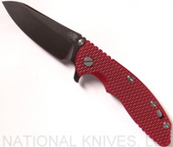 "Rick Hinderer Knives XM-18 Sheepsfoot Flipper Knife, Battle Black 3.5"" CPM-20CV  Plain Edge Blade, Battle Black Titanium Lockside, Red G-10 Handle - Tri-Way Pivot"