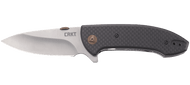 CRKT Avant 4620 Flipper Folding Knife, Satin 8Cr14MoV Plain Edge Blade, Smooth Black Carbon Fiber and G-10 Laminate Handle
