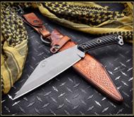 RMJ Tactical Combat Valhalla Seax Fixed Blade Knife, Nitro-V Plain Edge Blade, Black G-10 Handle, Leather Sheath