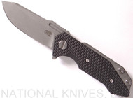 "Rick Hinderer Knives Half Track Spear Point Folding Knife, Working Finish 2.75"" Plain Edge Blade, Working Finish Lock Side, Black G-10 - Tri-Way Pivot"