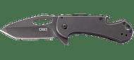 CRKT Bev-Edge 4635 Folding Knife, Black 8Cr13MoV Plain Edge Blade, Black Stainless Steel Handle