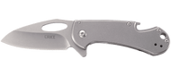 CRKT Bev-Edge 4630 Folding Knife, Satin 8Cr13MoV Plain Edge Blade, Stainless Steel Handle