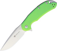 "Steel Will Knives Cutjack C22-2GR Folding Knife, 3.5"" Plain Edge M390 Blade, Green G-10 Handle"