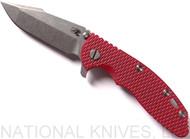 "Rick Hinderer Knives XM-18 Harpoon Spanto Folding Knife, Stonewashed 3.5"" Plain Edge CPM-S35VN Blade, Stonewashed Lockside, Red G-10 Handle - Tri-Way Pivot"