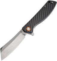 Artisan Cutlery Tomahawk Folder 1815P-CF, Stonewash D2 Plain Edge Blade, Black Flat Carbon Fiber and G-10 Laminate Handle