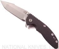 "Rick Hinderer Knives XM-18 Harpoon Spanto Folding Knife, Working Finish 3.5"" Plain Edge CPM-S35VN Blade, Working Finish Lockside, Black G-10 Handle - Tri-Way Pivot"