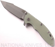 "Rick Hinderer Knives XM-18 Harpoon Spanto Folding Knife, Working Finish 3.5"" Plain Edge CPM-S35VN Blade, Working Finish Lockside, Translucent Green G-10 Handle - Tri-Way Pivot"