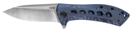 "Zero Tolerance 0801TIBLU Sprint Run Flipper Folding Knife, 3.5"" Plain Edge Blade, Blue Titanium Handle"
