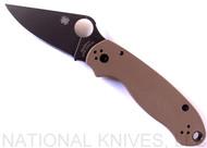 "Spyderco Para 3 Knife C223GPBNBK 2.9"" Black PlainEdge S35VN Blade Flat Brown G10"