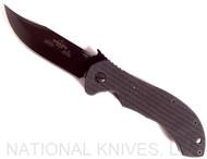 "Emerson Knives Appalachian BT Folding Knife, Black 3.6875"" Plain Edge 154CM Blade, Black G-10 Handle, Emerson ""Wave"" Opener"