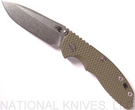"Rick Hinderer Knives XM-18 Spearpoint Non-Flipper Folding Knife, Stonewashed 3.5"" Plain Edge 20CV Blade, Stonewashed Lockside, Olive Drab G-10 Handle - Tri-Way Pivot"