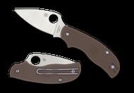"Spyderco Urban Lightweight C127PBN Sprint Run Folding Knife, 2.6"" Plain Edge AEB-L Stainless Blade, Brown FRN Handle"