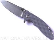 "Rick Hinderer Knives XM-18 SKINNY Sheepsfoot Folding Knife, Stonewash 3"" Plain Edge 20CV Blade, Stonewash Lockside, Gray G-10 Handle - Tri-Way Pivot"