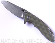 "Rick Hinderer Knives XM-18 SKINNY Sheepsfoot Folding Knife, Stonewash 3"" Plain Edge 20CV Blade, Stonewash Lockside, OD Green G-10 Handle - Tri-Way Pivot"