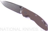 "Rick Hinderer Knives XM-18 Spearpoint Non-Flipper Folding Knife, Stonewashed 3.5"" Plain Edge 20CV Blade, Stonewashed Lockside, FDE G-10 Handle - Tri-Way Pivot"