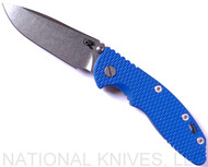 "Rick Hinderer Knives XM-18 Spearpoint Non-Flipper Folding Knife, Stonewashed 3.5"" Plain Edge 20CV Blade, Stonewashed Lockside, Blue G-10 Handle - Tri-Way Pivot"