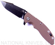 "Rick Hinderer Knives XM-18 Harpoon Spanto Folding Knife, Black Stonewash 3.5"" Plain Edge CPM-S35VN Blade, Black Stonewash Lockside, FDE G-10 Handle - Tri-Way Pivot"