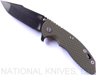 "Rick Hinderer Knives XM-18 Harpoon Spanto Folding Knife, Black Stonewash 3.5"" Plain Edge CPM-S35VN Blade, Black Stonewash Lockside, OD Green G-10 Handle - Tri-Way Pivot"