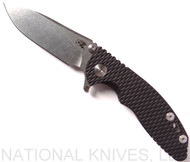 "Rick Hinderer Knives XM-18 SKINNY Slicer Folding Knife, Stonewash 3"" Plain Edge 20CV Blade, Stonewash Lockside, Black G-10 Handle - Tri-Way Pivot"